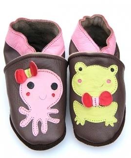 Chaussons bébés cuir souples Froggy et Poulbette