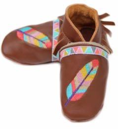 """Chausson bébé cuir """"Petite Sioux""""."""