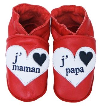 Chausson cuir J'aime Papa, J'aime Maman.