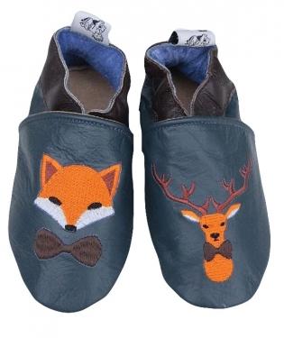 Chausson en cuir fox et cerf.
