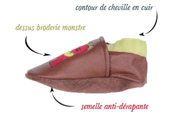 chaussons souples en cuir Bouh et Poulbo.