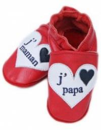 Chaussons en cuir j'aime Papa-Maman