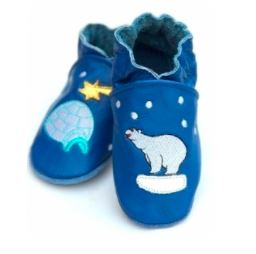 Chaussons en cuir ours pompom