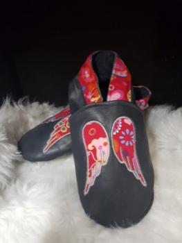 chaussons en cuir ailes
