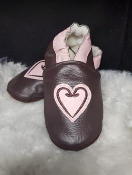 Chaussons en cuir coeur fourrées