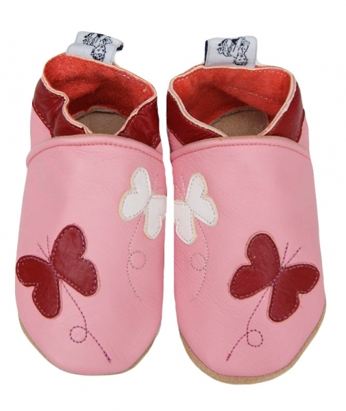 chausson cuir purple butterfly.